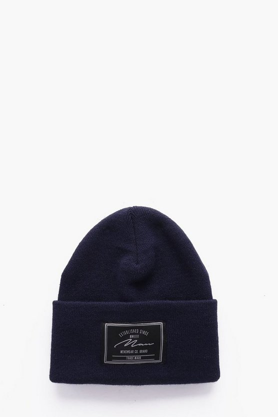 MAN Branded Turn Up Beanie