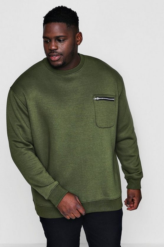 Big And Tall Zip Pocket Crew Neck Sweater