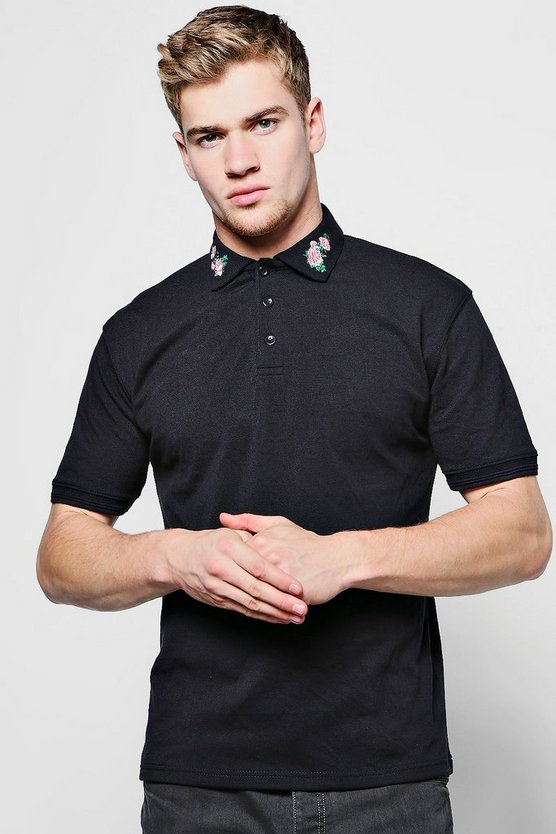 Floral Embroidered Collar Polo