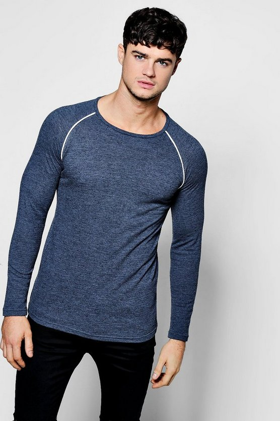 Mens Blue Long Sleeve Muscle Fit Knitted T-Shirt With Piping