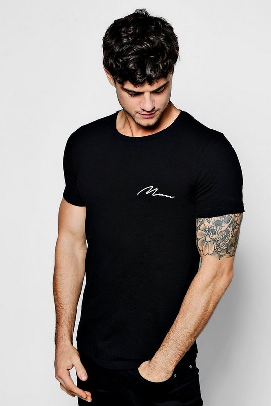 MAN Embroidered Honey Comb Textured T-Shirt