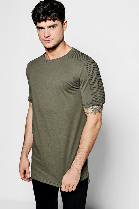 Mens Khaki Biker T-Shirt With Step Hem