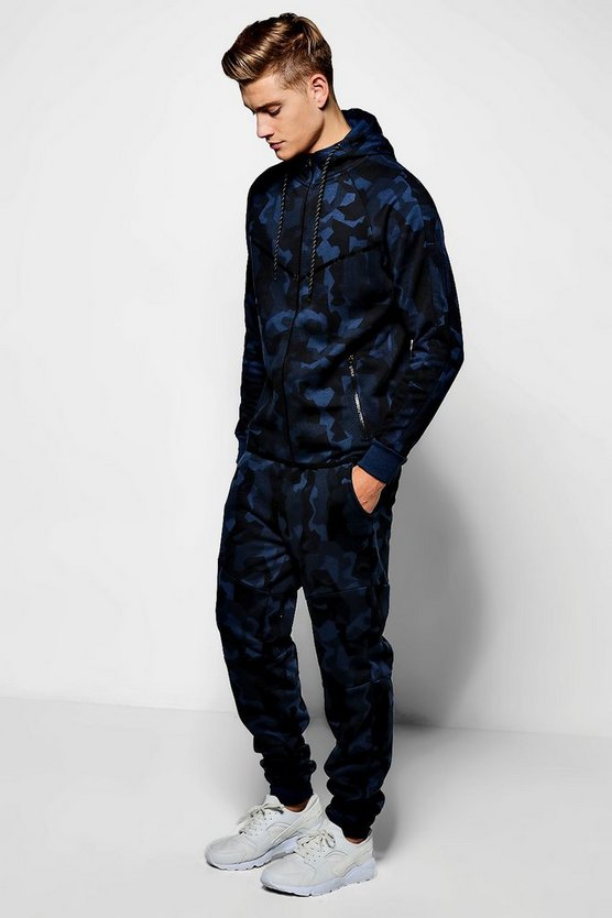 Skinny Fit Camo Hooded Tracksuit