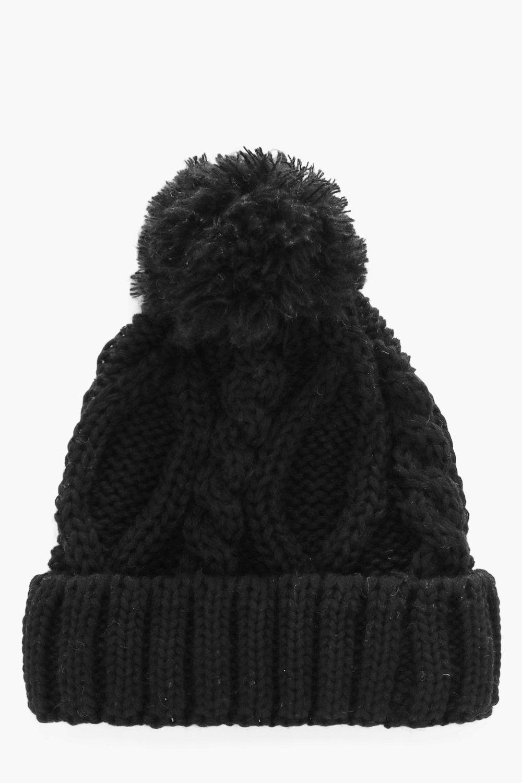 Pom Pom Cable Knit Beanie. Hover to zoom 7f01612cf06