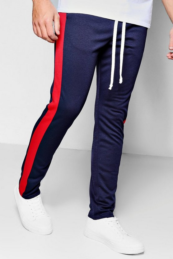 Mens Navy Skinny Fit Panel Joggers With Elongated Drawcord