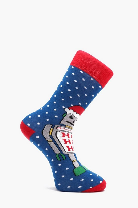 Robot Christmas Socks, Blue, Uomo