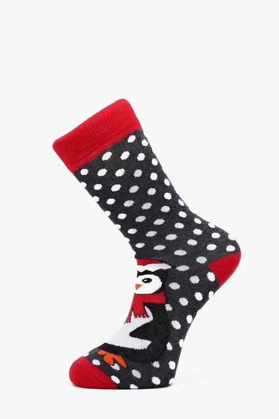 Mens Charcoal Penguin Christmas Socks