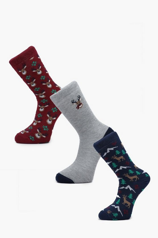 Mens Multi 3 Pack Deer Christmas Sock Gift Box