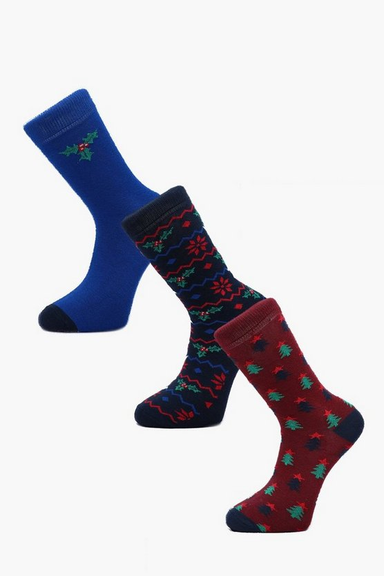 Mens Multi 3 Pack Holly Christmas Sock Gift Box
