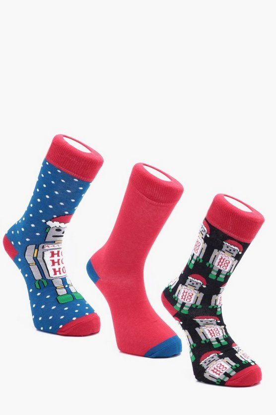 3 Pack Christmas Robot Socks