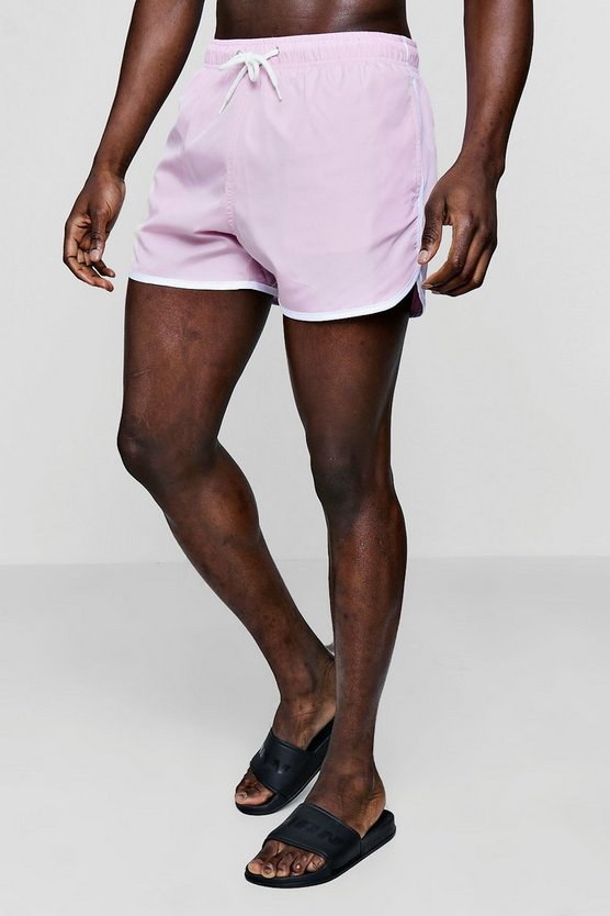 Mens Pale pink Runner Swim Shorts