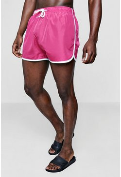 Mens Pink Runner Swim Shorts