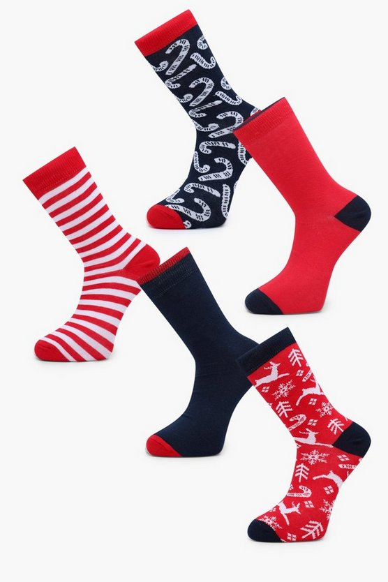 5 Pack Candy Cane Christmas Socks