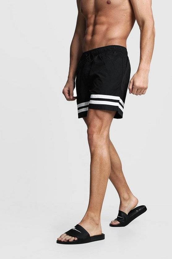 Mens Black Contrast Stripe Swim Shorts