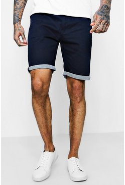 Chino Shorts With Stripe Turn Up, Navy
