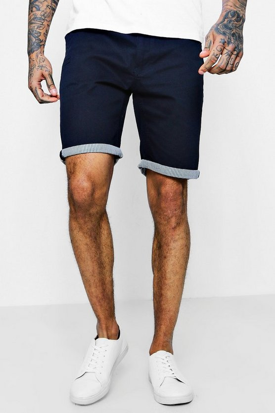 Chino Shorts With Stripe Turn Up, Navy, Uomo