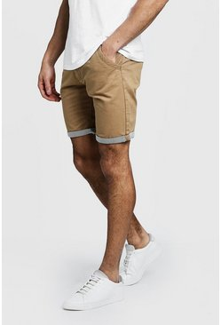 Chino Shorts With Stripe Turn Up, Stone, Uomo