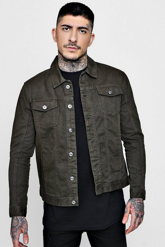 Mens Khaki 4 Pocket Denim Jacket