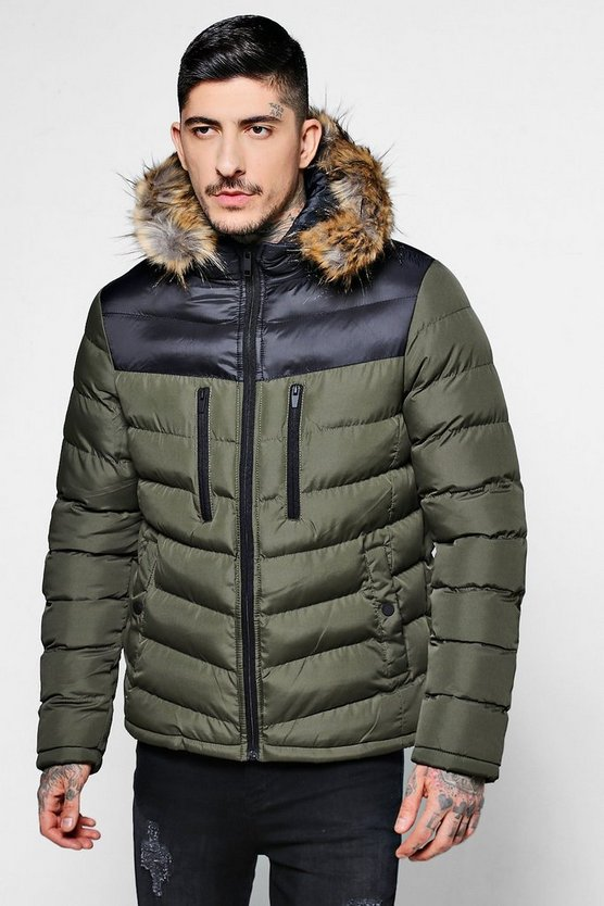 Colour Block Padded Jacket With Faux Fur Hood