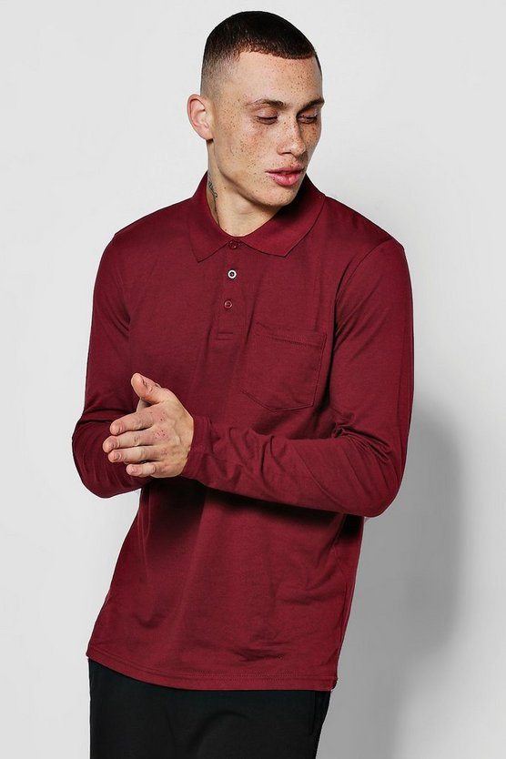 Mens Burgundy Long Sleeve Pocket Polo In Jersery