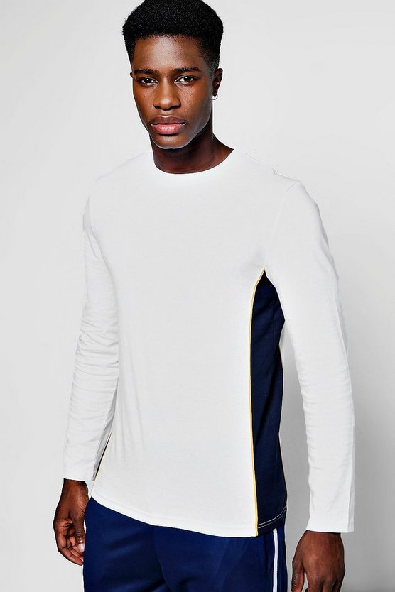Long Sleeve T-Shirt With Side Panel & Piping