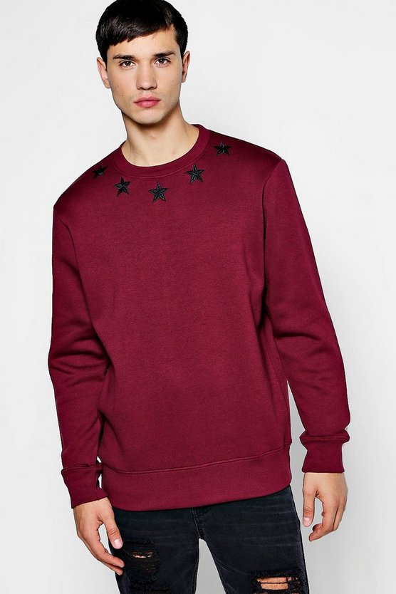 Mens Burgundy Star Embroidered Sweater