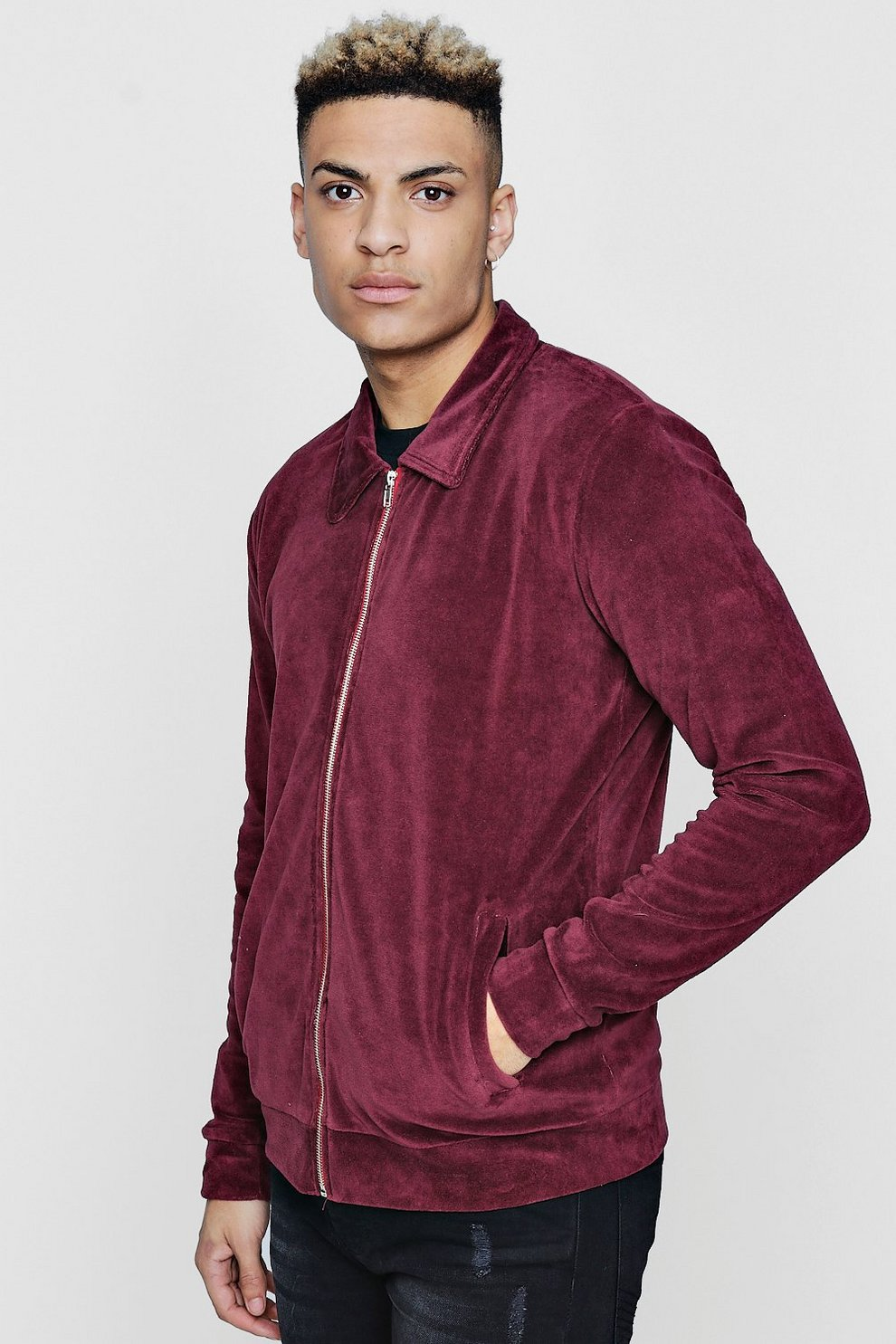 Veste Harrington Velours Velours En En Veste Boohoo Harrington RaqFn7Zw
