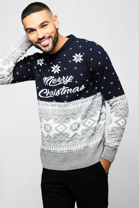 Mens Navy Merry Christmas Fairisle Sweater