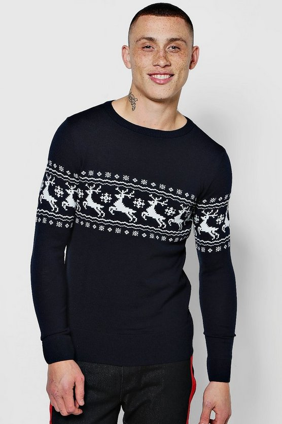Muscle Fit Reindeer Fairisle Christmas Jumper