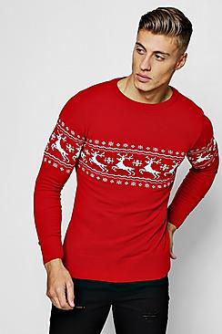 1940s Style Mens Shirts, Sweaters, Vests Muscle Fit Reindeer Fairisle Christmas Jumper $36.00 AT vintagedancer.com