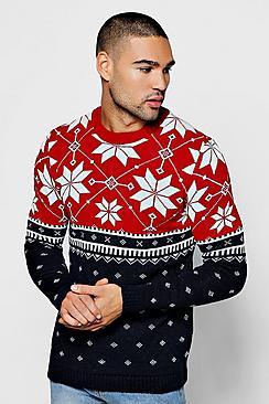 Men's Vintage Sweaters – 1920s to 1960s Retro Jumpers Christmas Colour Block Fairisle Jumper $36.00 AT vintagedancer.com