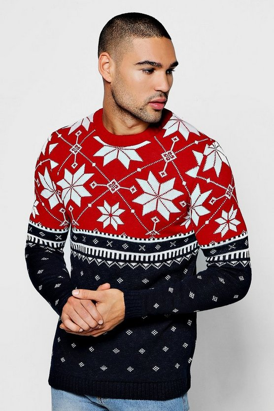 Christmas Colour Block Fairisle Jumper