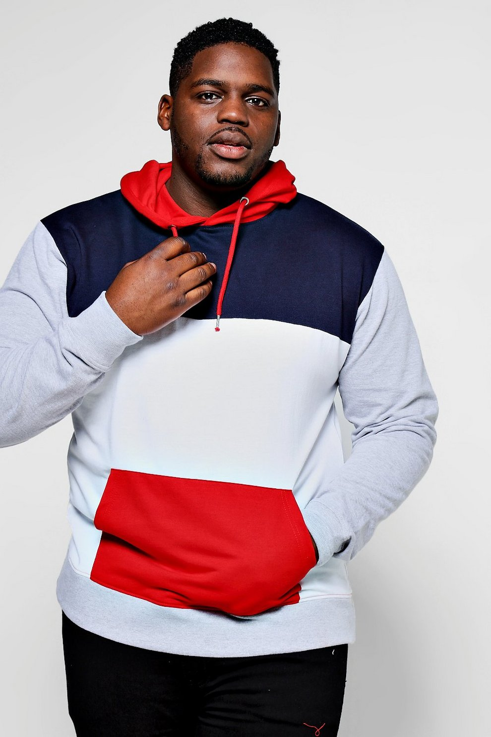 4211a591fcfa Mens Grey Big And Tall Panelled Colour Block Hoodie
