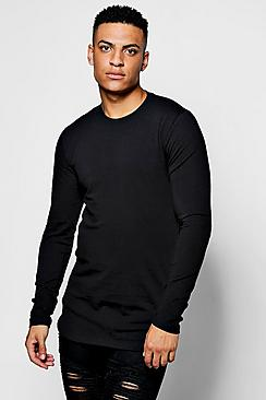 Muscle Fit Long Sleeve Curve Hem T-Shirt