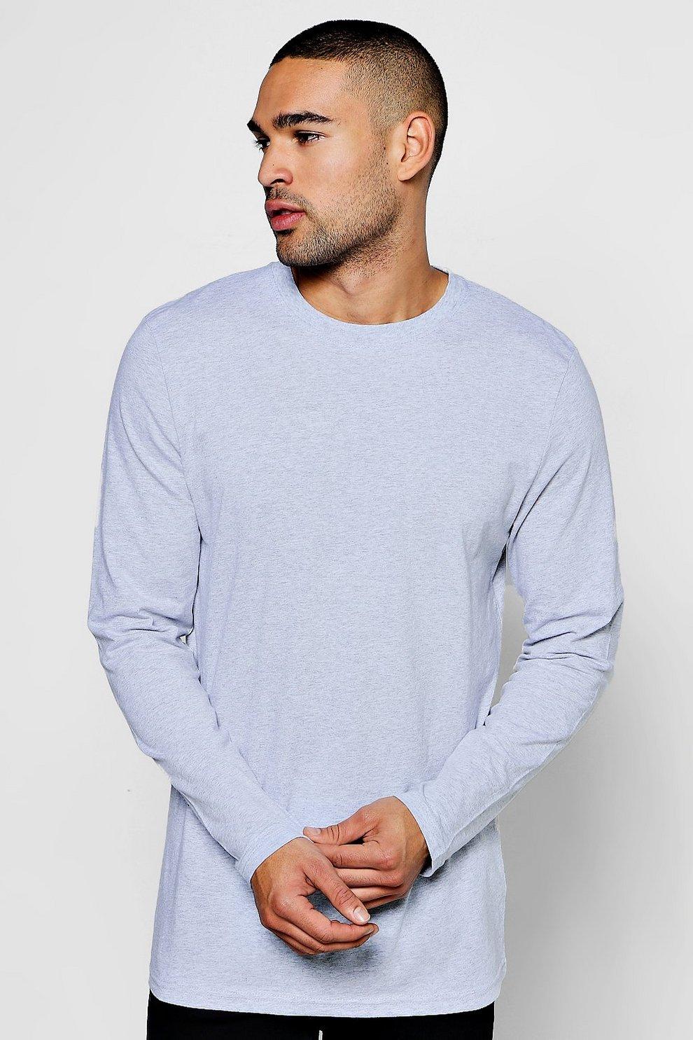 90c86b6e5 Mens Grey marl Longline Long Sleeve Crew Neck T-Shirt
