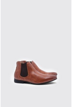 Tan Leather Look Chelsea Boots, Uomo