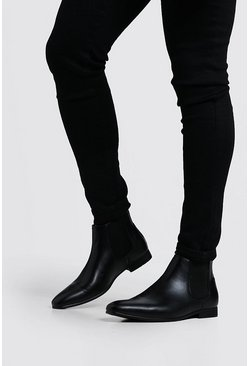 Black Leather Look Chelsea Boots, Uomo