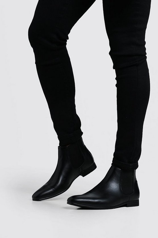 Mens Black Black Leather Look Chelsea Boots