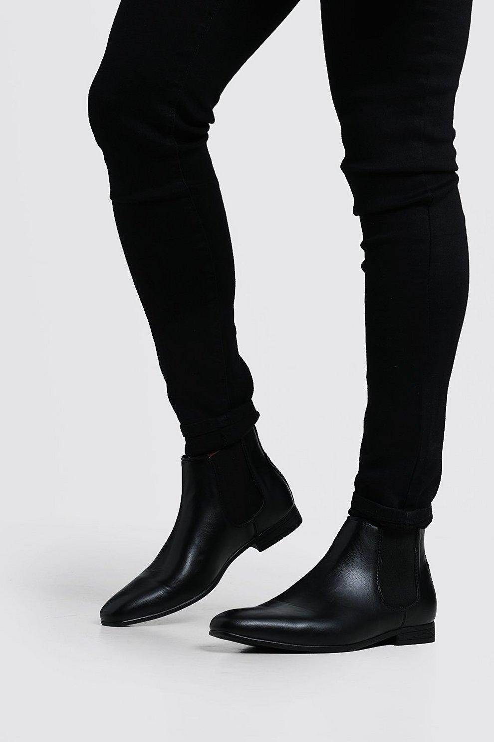 nueva estilos gran inventario última colección Botas Chelsea efecto piel negras | Boohoo