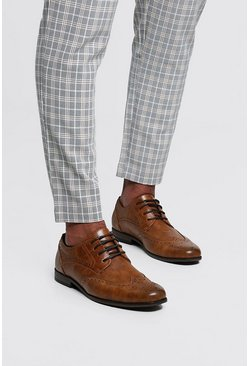 Tan Wingcap Brogue, Uomo