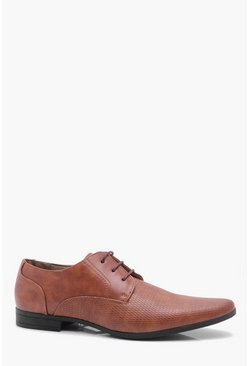 Mens Tan Embossed Vamp Formal Shoe