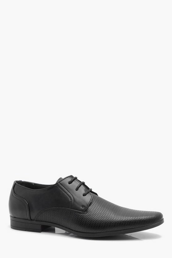 Mens Black Embossed Vamp Formal Shoe