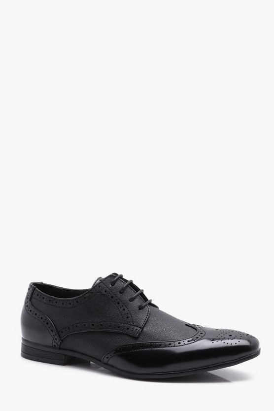 Mens Black High Shine Embossed Brogue