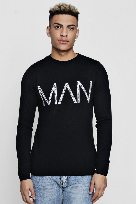 MAN Knitted Crew Neck Jumper
