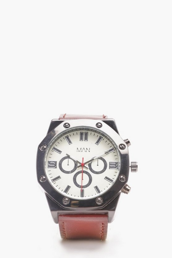 Mens White White Chunky Multi Face Watch