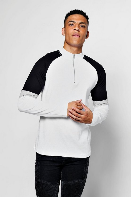 Zip Collared Long Sleeve Colour Block T-Shirt