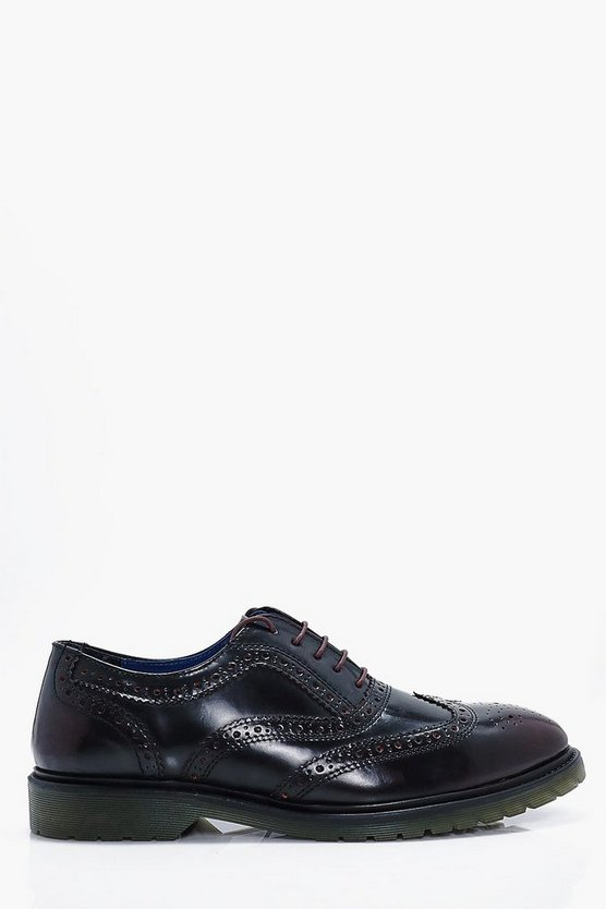 Real Leather Brogue Shoes
