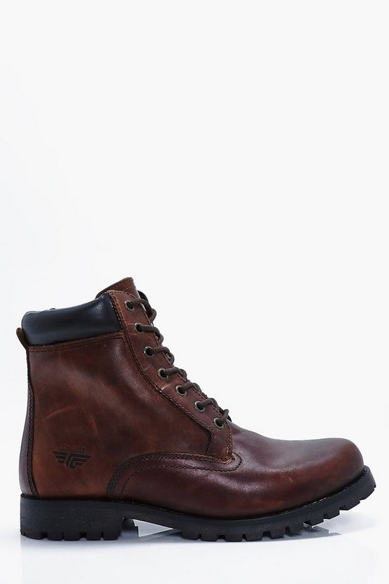 Tan Real Leather Worker Boots