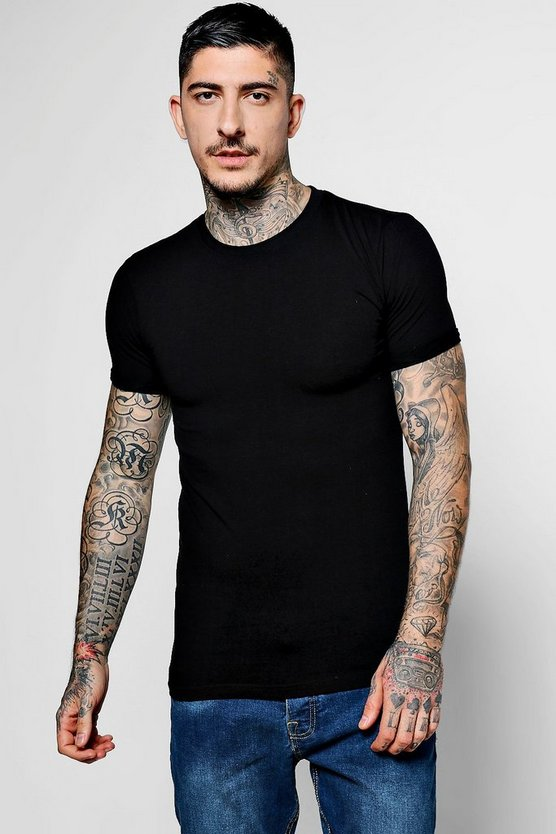Muscle Fit Rolled Sleeve Crew Neck T-Shirt