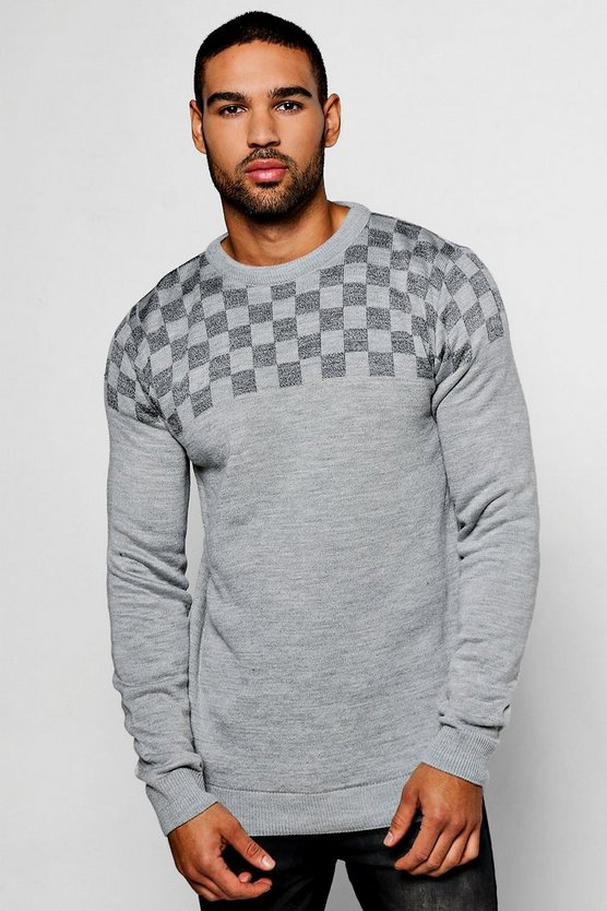 Checker Board Yolk Crew Neck